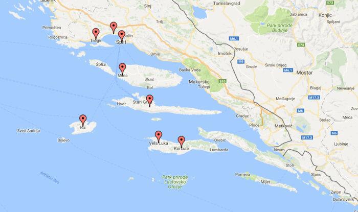 Seilferie i Kroatia _kart