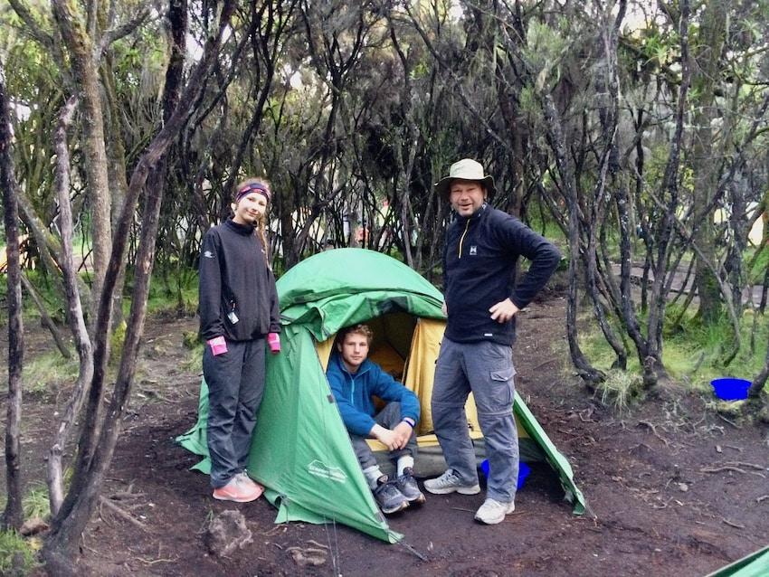 En av de siste campene på vei ned