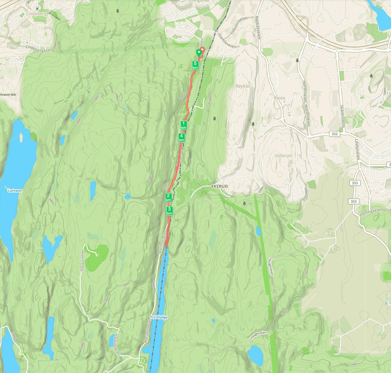 Kart fra Ellingsrud til Nord-Elvåga