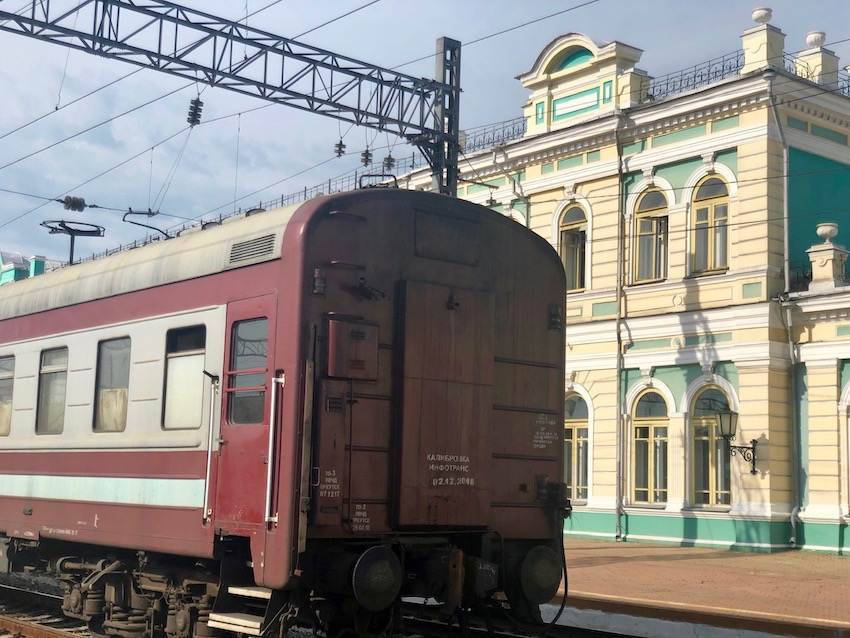At the railway station, Irkutsk
